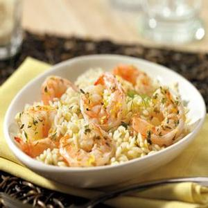 Lemon- Herb Gulf Shrimp over dilled Orzo