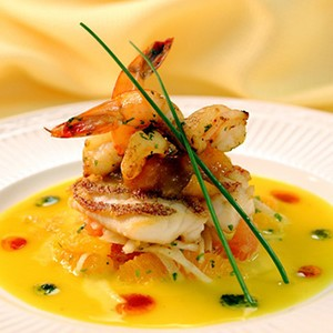 Crispy Pan Seared Snapper with Passion Fruit Cream