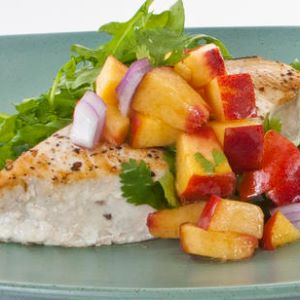 Seared Swordfish Steaks with Arugula and Peach Salsa